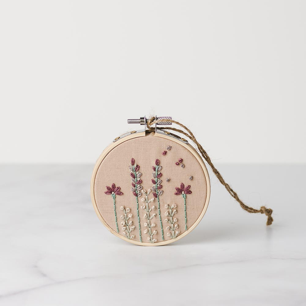 Handmade embroidery hoop blooming bouquet