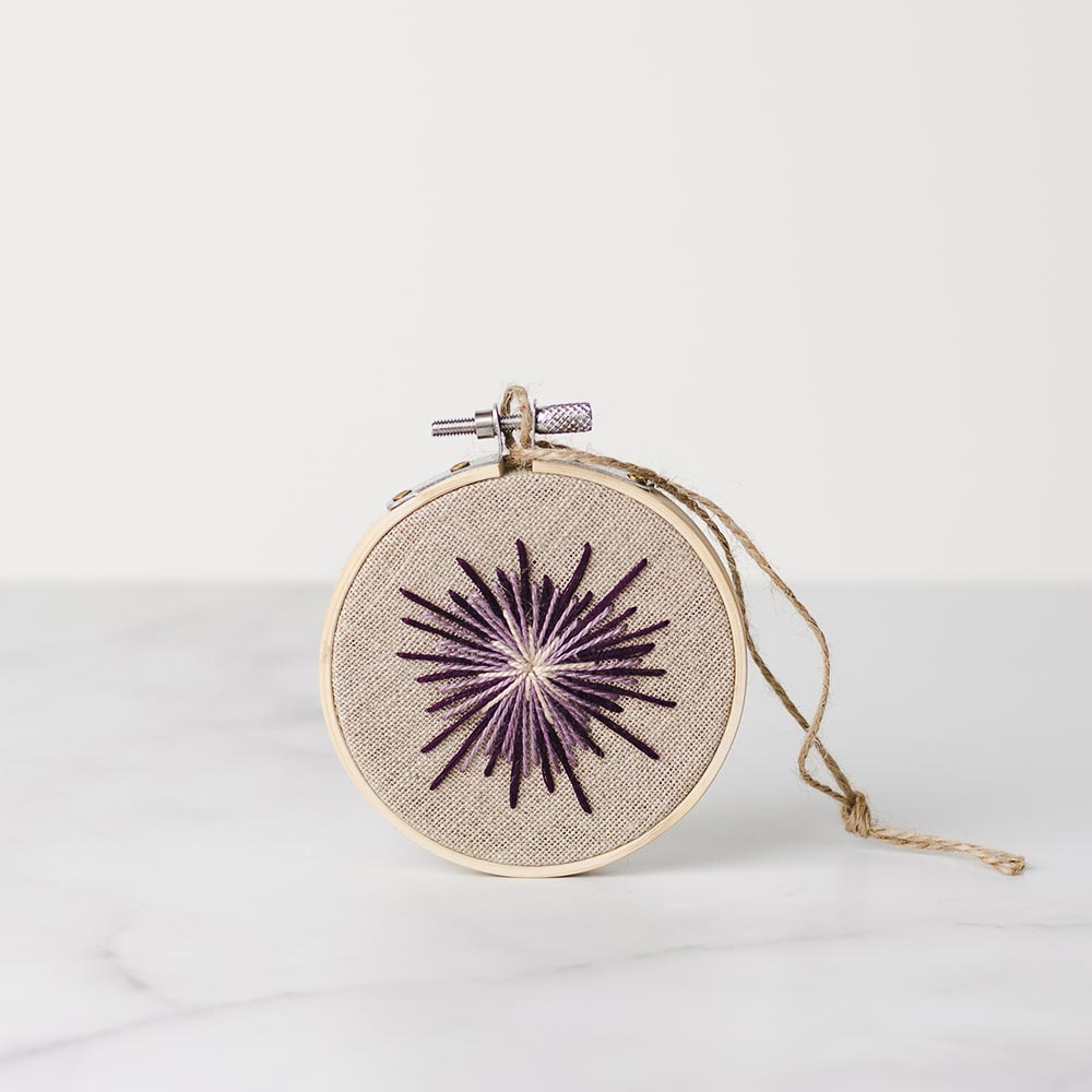 Handmade embroidery hoop purple star