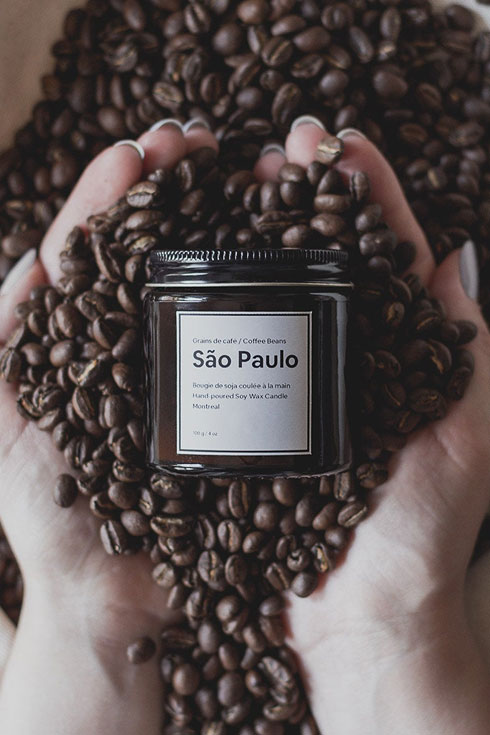 Hand poured scented soy candle coffee scent